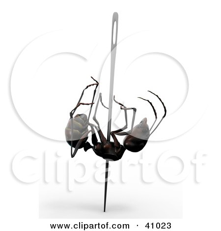Clipart Illustration of a 3d Ant Pinned With A Needle by Leo Blanchette
