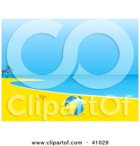 Clipart Illustration of a Starfish With A Beach Ball On A Deserted Tropical Beach by elaineitalia