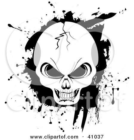 Cracked Evil Human Skull With Black Grunge Posters, Art Prints