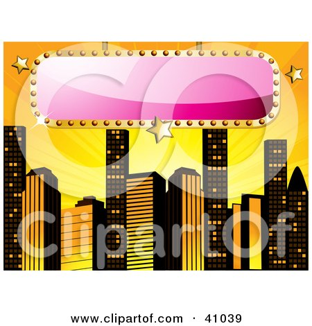 Clipart Illustration of a Blank Pink Sign Bordered In Gold, Over A Yellow Background With Skyscrapers by elaineitalia