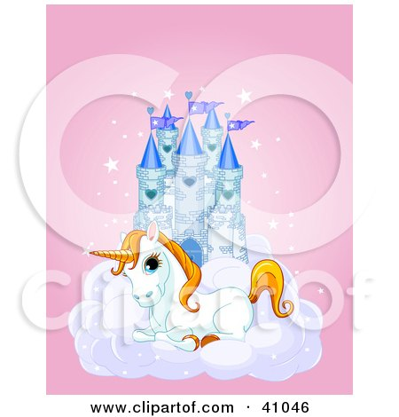 Clipart Illustration of a Cute White Unicorn Resting On A Cloud In Front Of A Blue Castle by Pushkin