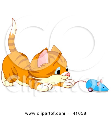 Clipart Illustration of a Playful Orange Kitten Playing With A Blue Mouse Toy by Pushkin