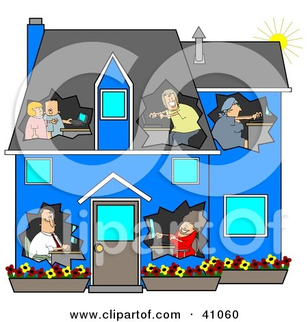 Clipart Illustration of a Networked Family Using Their Computers In Their Own Rooms Of A Blue House by Dennis Cox