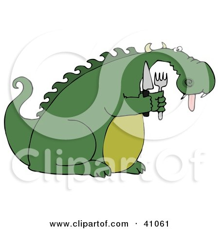 Clipart Illustration of a Starving Green Dragon Hanging His Tongue Out And Holding A Knife And Fork by djart