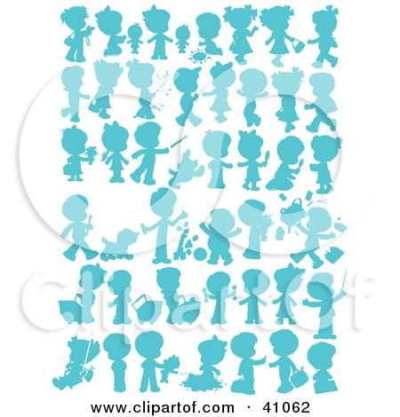 Clipart Illustration of Child, Pet And Baby Silhouettes In Blue by Alex Bannykh