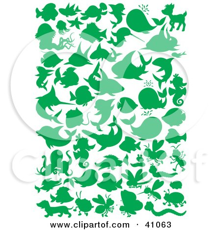 Clipart Illustration of Green Ocean And Land Animal Silhouettes In Green by Alex Bannykh