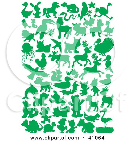 Clipart Illustration of Green Land And Sea Animal Silhouettes In Green by Alex Bannykh