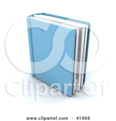 Clipart Illustration of a Single Blue Text Book Standing Upright by KJ Pargeter