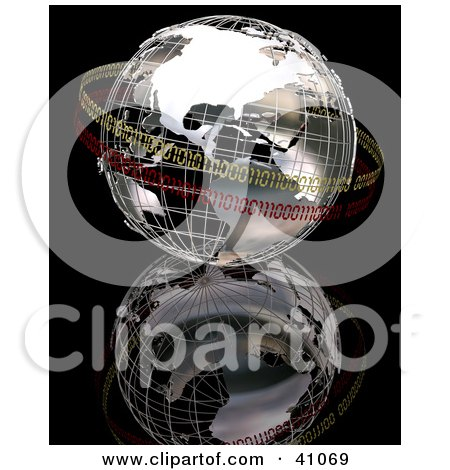 Clipart Illustration of a Chrome Binary World Circled In Yellow And Red Binary Bands by KJ Pargeter