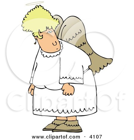 Angel With Wings Looking At Something Clipart