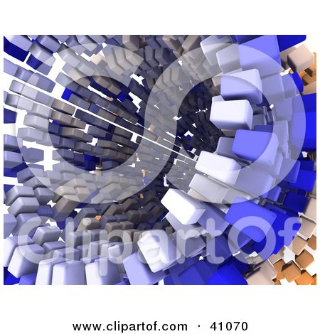 Clipart Illustration of a 3d Tunnel Formed Of Orange And Blue Blocks by KJ Pargeter