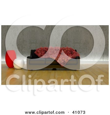 Clipart Illustration of a Furry Red Throw On A Sofa Couch In A Modern Living Room by KJ Pargeter