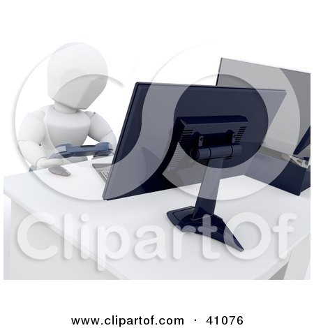 Clipart Illustration of a 3d White Character Gaming With Two Computer Monitors by KJ Pargeter