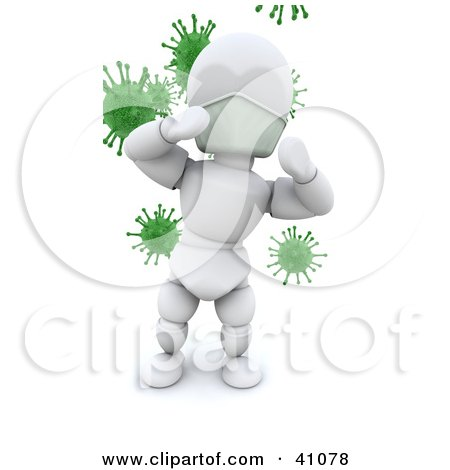 White Character Doctor Standing In Front Of Green Virus Bacteria Posters, Art Prints