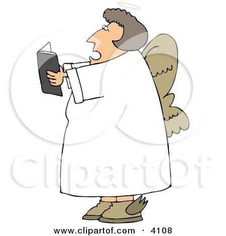 Female Angel Reading From A Book Clipart