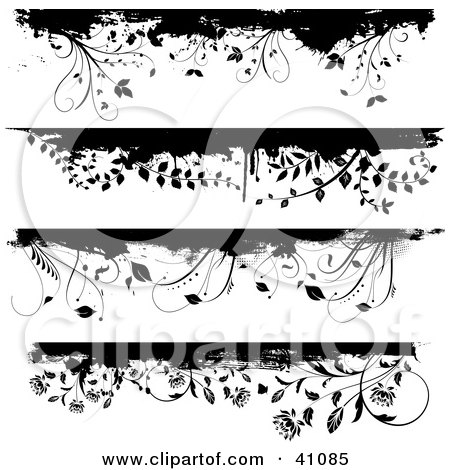 Clipart Illustration of Four Black And White Floral Grunge Borders Or Headers On White by KJ Pargeter