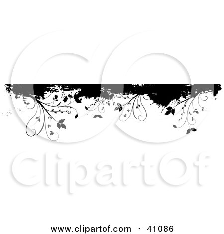 Clipart Illustration of a Black And White Floral Grunge Border Or Header On White by KJ Pargeter