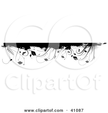 Clipart Illustration of a Black And White Grunge Plant Border Or Header On White by KJ Pargeter