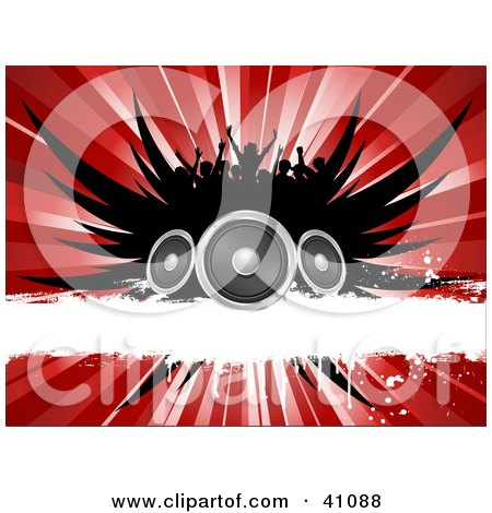 Clipart Illustration of a Silhouetted Concert Crowd Over Black Wings, Speakers, A White Grunge Bar And A Red Burst by KJ Pargeter