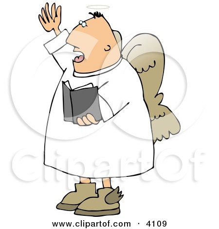 Male Angel Preaching At Church From A Bible Clipart