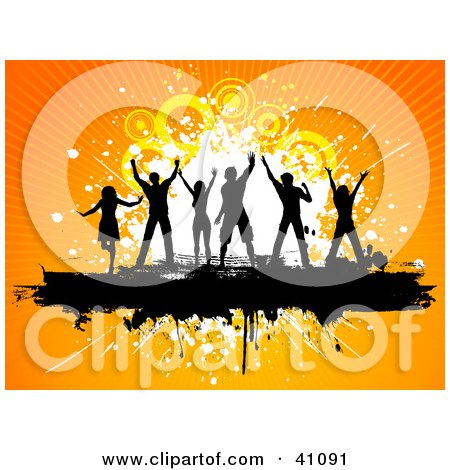 Clipart Illustration of a Black Silhouetted Dancers With Their Arms In The Air, On A Grunge Bar With An Orange Background by KJ Pargeter