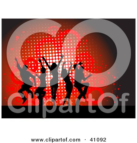 Clipart Illustration of Black Silhouetted Dancers Jumping Over A Red Grunge Circle Background by KJ Pargeter