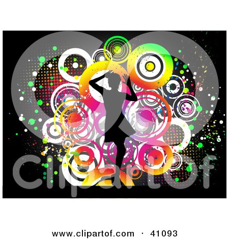 Clipart Illustration of a Single Silhouetted Woman Dancing In Front Of A Colorful Circle Grunge Black Background by KJ Pargeter