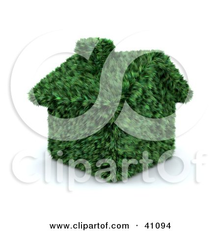 Clipart Illustration of a Green House With A Chimney, Made Of Grass by KJ Pargeter