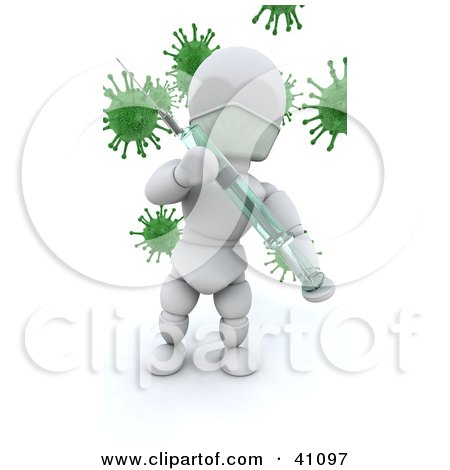 White Character Doctor Holding A Needle And Syringe Vaccine In Front Of Virus Bacteria Posters, Art Prints