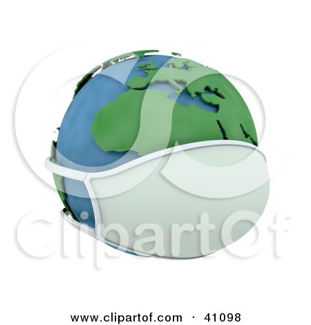Clipart Illustration of a 3d Globe Wearing A Face Mask, Europe Featured by KJ Pargeter