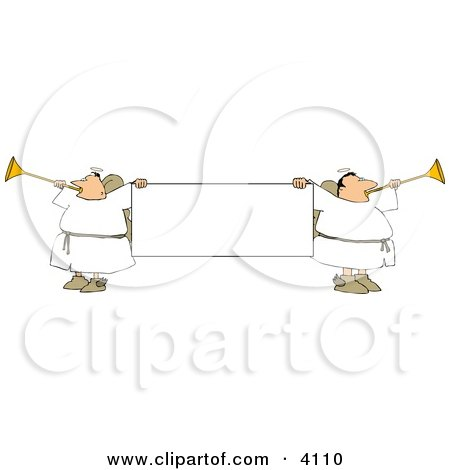 Male Angels Blowing Through Horns And Holding A Blank Sign Clipart