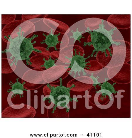 Clipart Illustration of a Background Of Green Bacteria Attacking Red Blood Cells by KJ Pargeter