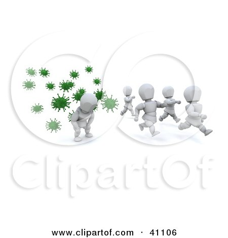 Clipart Illustration of a White Character Falling Behind A Group Running From Green Virus Bacteria by KJ Pargeter