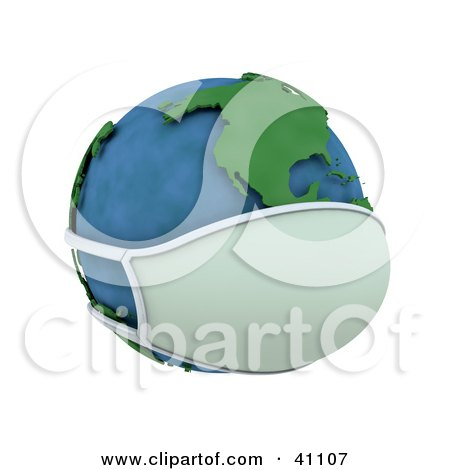 Clipart Illustration of a 3d Globe Wearing A Face Mask, The Americas Featured by KJ Pargeter