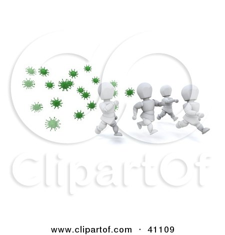 Clipart Illustration of a Group Of Healthy White Characters Running From Green Virus Bacteria by KJ Pargeter