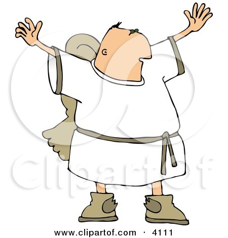 Religious Male Angel With Wings Trying To Grab Everyones Attention Clipart