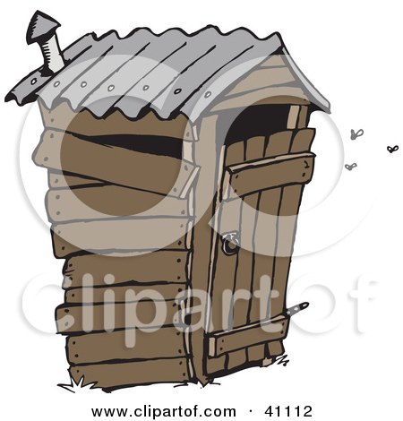 Clipart Illustration of a Stinky Wooden Outhouse With Flies by Dennis Holmes Designs