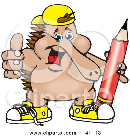 Clipart Illustration of an Outgoing Echidna Wearing Shoes And A Hat And Holding A Pencil by Dennis Holmes Designs