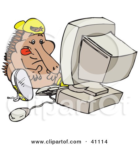 Clipart Illustration of a Techno Echidna Using A Desktop Computer by Dennis Holmes Designs
