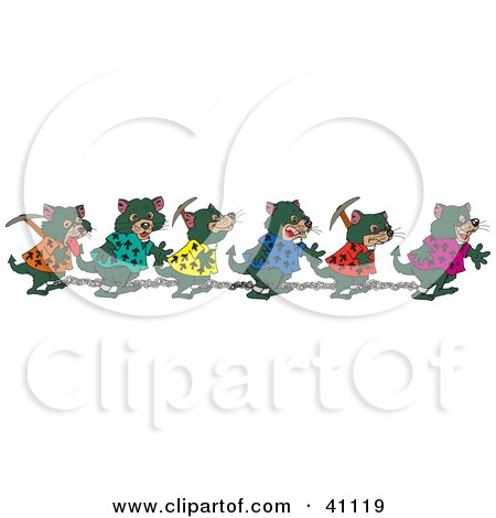 Chain Gang Of Tasmanian Devils Carrying Tools And Walking In Shackles Posters, Art Prints