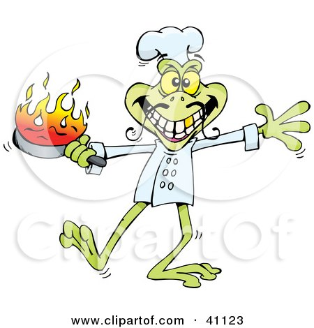 Clipart Illustration of a Leggy Green Frog Chef Holding A Flaming Pan While Cooking by Dennis Holmes Designs