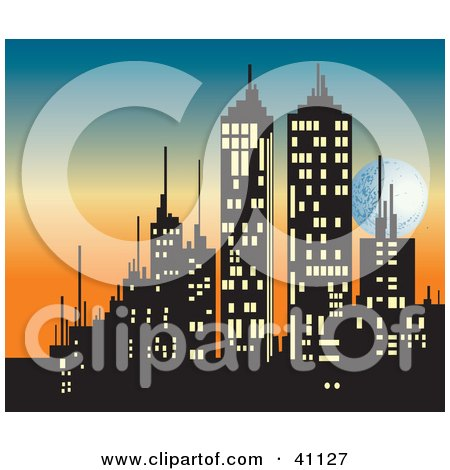 Clipart Illustration Of A Silhouetted City Skyline With Illuminated Windows Behind A Sunset Sky With The Moon