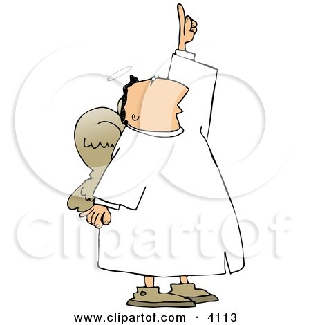Male Angel With Wings Pointing Up Towards The Sky Clipart
