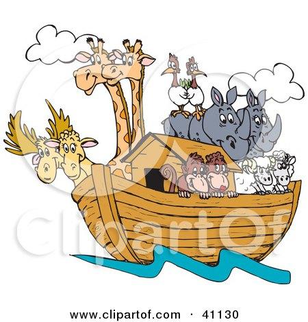 Pairs Of Giraffes, Birds, Rhinos, Sheep And Monkeys On Noah's Ark Posters, Art Prints