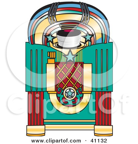 Clipart Illustration of a Colorful Retro Jukebox by Dennis Holmes Designs