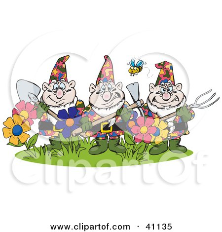 Bee Flying Over Three Garden Gnomes Guarding Flowers Posters, Art Prints