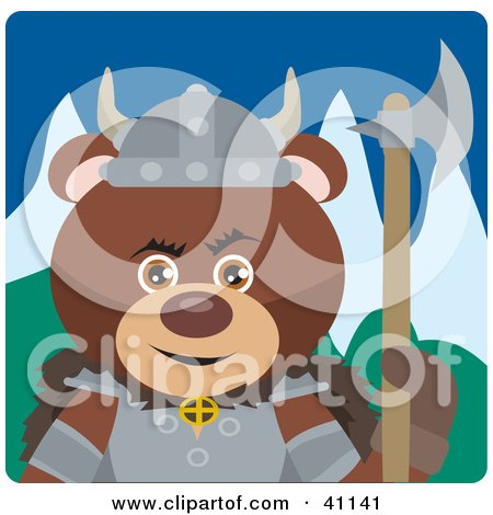 Clipart Illustration of a Brown Teddy Bear Knight With An Ax by Dennis Holmes Designs