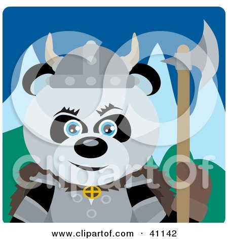 Clipart Illustration of a Giant Panda Bear Knight With An Ax by Dennis Holmes Designs