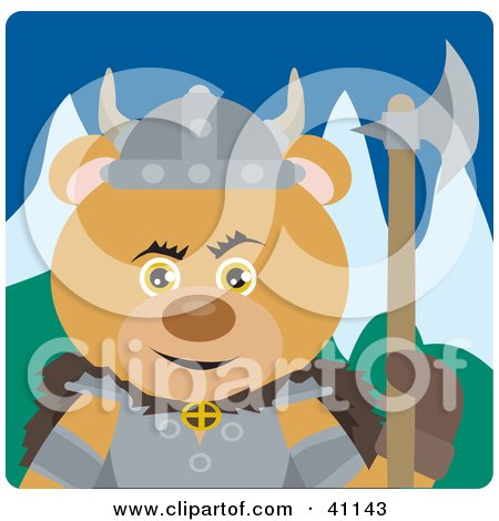 Clipart Illustration of a Teddy Bear Knight With An Ax by Dennis Holmes Designs