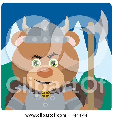 Clipart Illustration of a Brown Bear Knight With An Ax by Dennis Holmes Designs